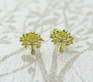 Sterling Silver 24k Gold Celtic Tree of Life Stud Earrings