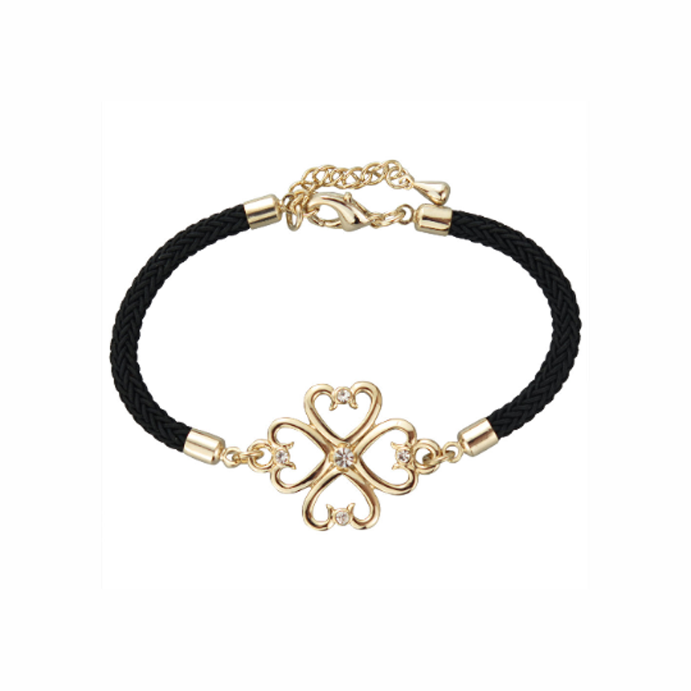 Lucky Four Leaf Clover Gold Plated Black Bracelet