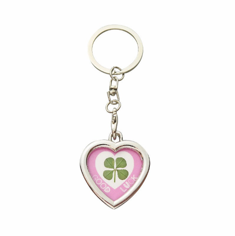 Lucky Real Four Leaf Clover Good Luck Heart Keyring Keychain
