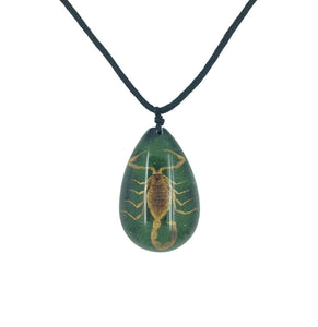 Real Scorpion Green Pendant Necklace