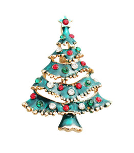 Green Christmas Tree Brooch