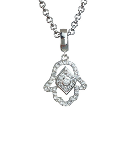 Silver Plated Crystal Evil Eye Hamsa Hand of God Pendant Necklace