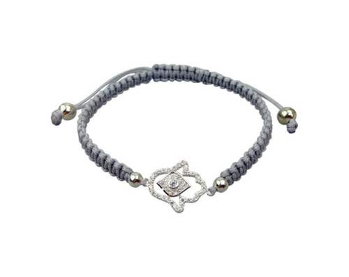 Grey Evil Eye Hamsa Hand Czech Crystal Bracelet