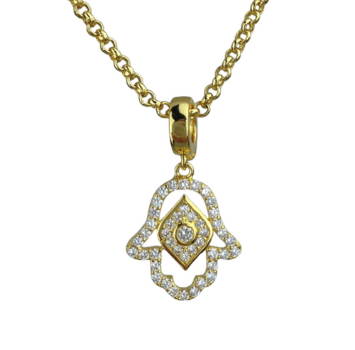 Gold Plated Crystal Evil Eye Hamsa Hand of God Pendant Necklace