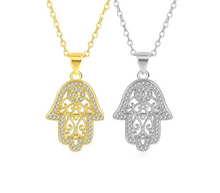 Load image into Gallery viewer, Silver and Gold Plated Crystal Hamsa Hand of God Pendant Necklace