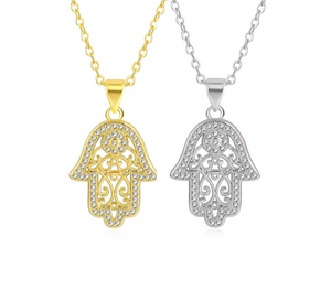Silver and Gold Plated Crystal Hamsa Hand of God Pendant Necklace