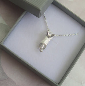 Sterling Silver Playful Kitten Cat Pendant Necklace