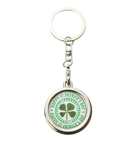Lucky Real Four Leaf Clover St Patrick's Day Keyring Keychain