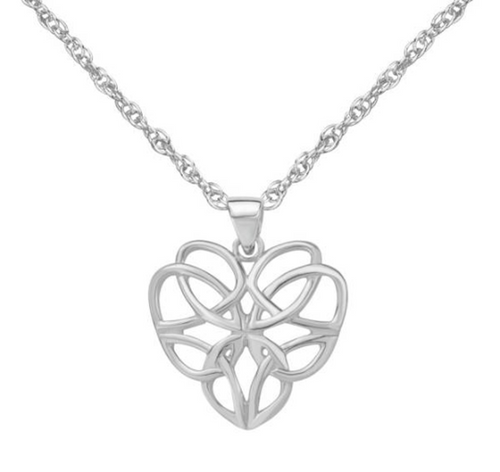 Celtic Knotwork Love Heart Solid 925 Sterling Silver Pendant Necklace