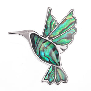 Lucky Genuine Paua Shell Hummingbird Brooch