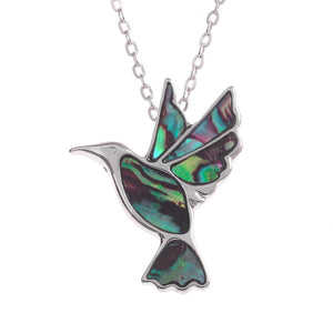 Lucky Genuine Paua Shell Hummingbird Pendant Necklace