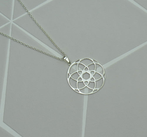 Celtic Flower of Life Solid 925 Sterling Silver Pendant Necklace