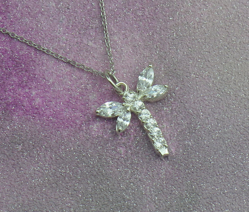 Sterling Silver Lucky Crystal Dragonfly Pendant Necklace