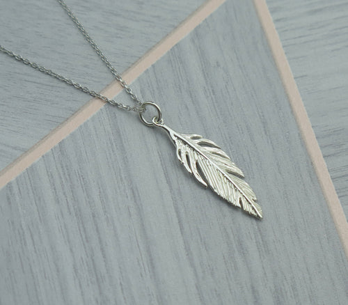 Spiritual Feather Solid 925 Sterling Silver Pendant Necklace