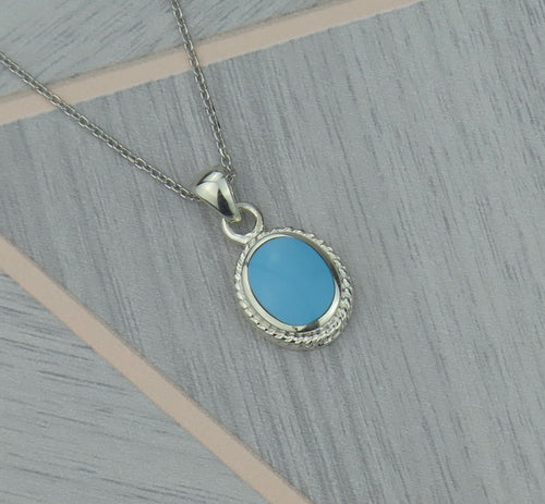 Lucky Vintage Pisces Sterling Silver Birthstone Pendant Necklace in Turquoise