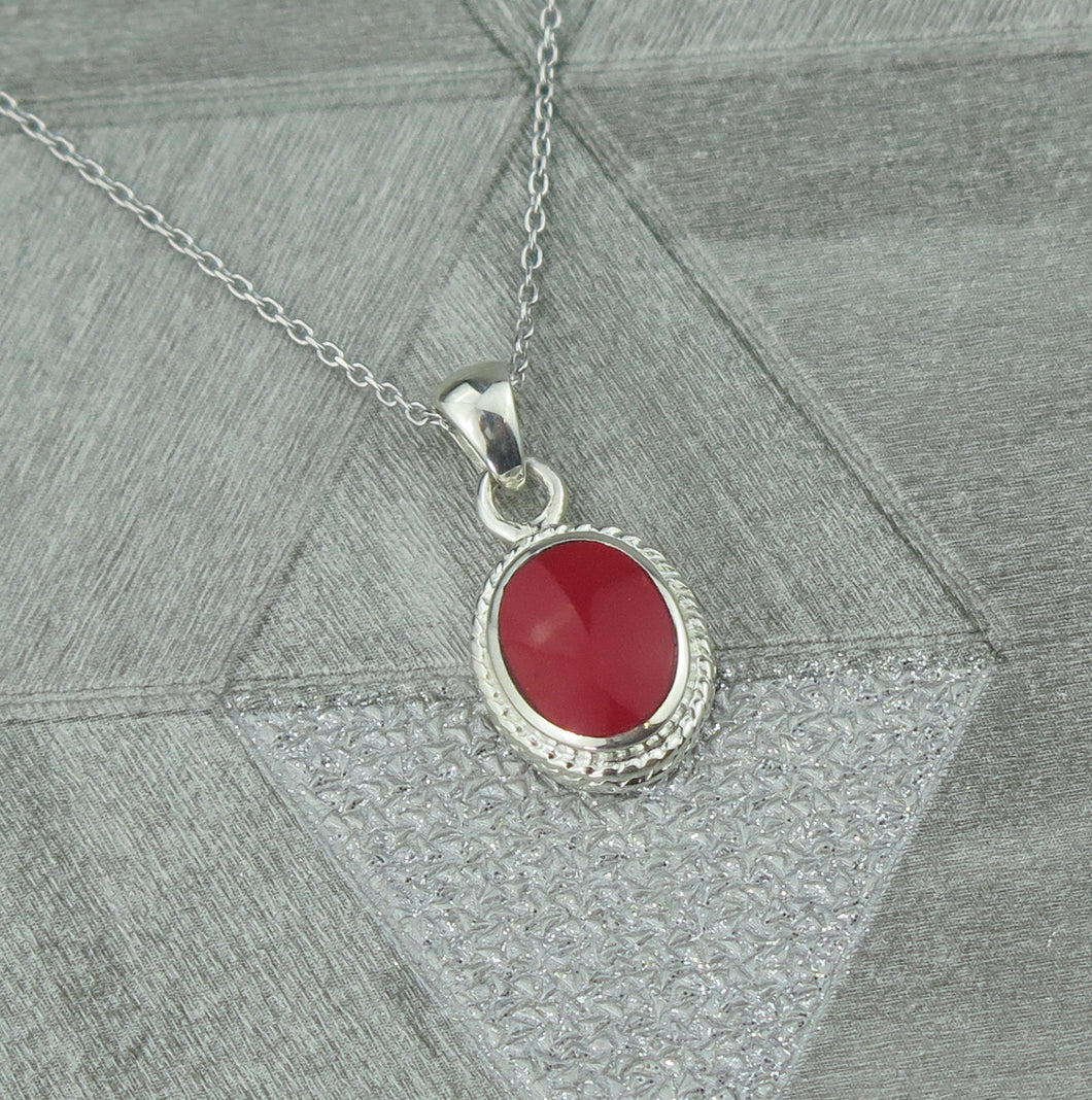 Lucky Vintage Libra Sterling Silver Birthstone Pendant Necklace in Red Coral