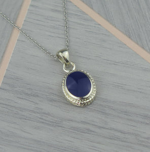 Lucky Vintage Sagittarius Sterling Silver Birthstone Pendant Necklace in Lapis