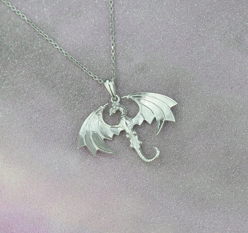 Sterling Silver Lucky Dragon Pendant Necklace