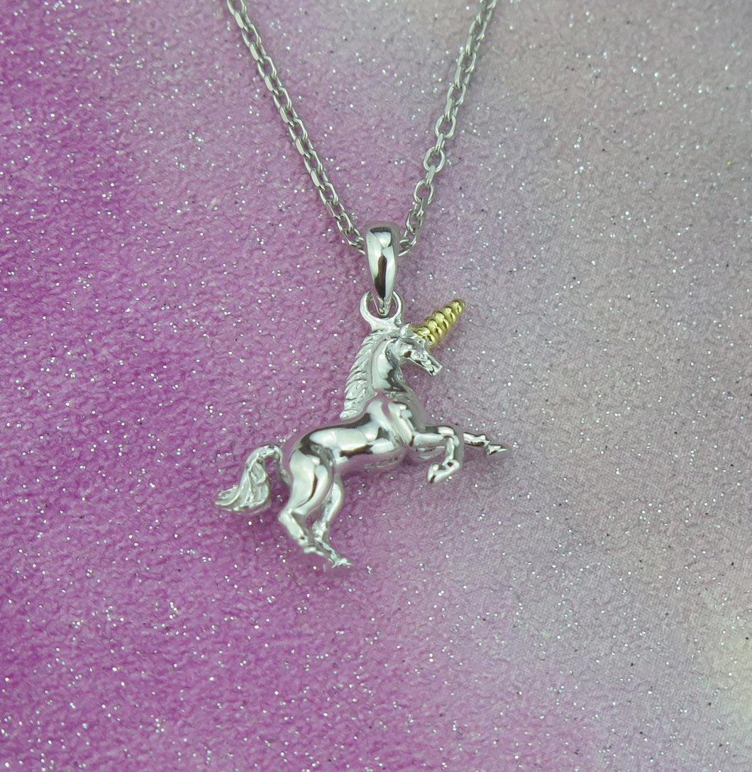 Sterling Silver Lucky Unicorn Pendant Necklace