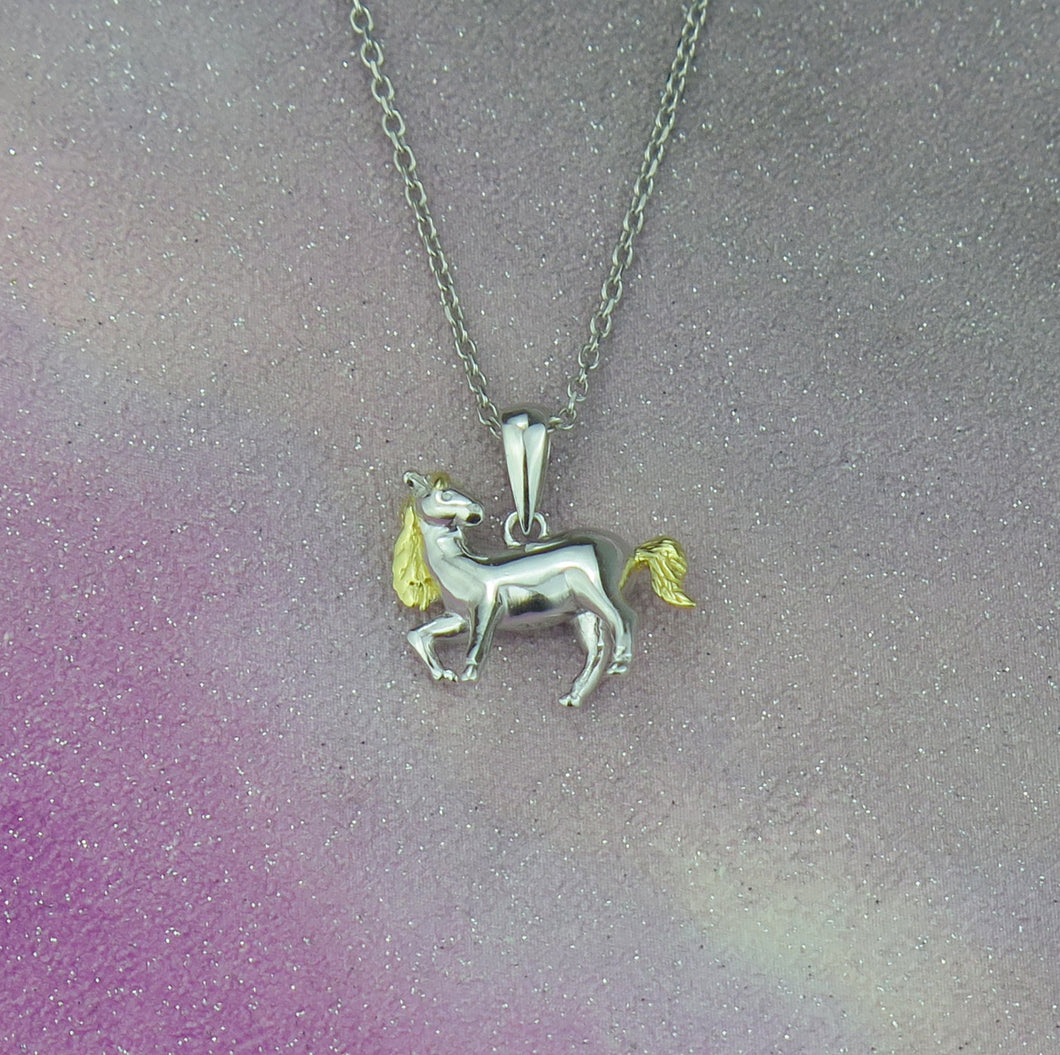 Sterling Silver Pony Horse Pendant Necklace