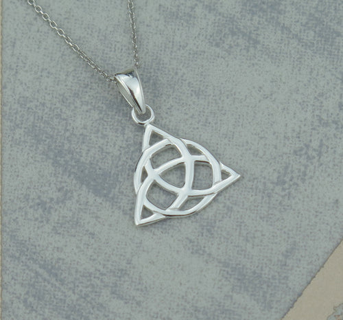 Celtic Triquetra Knot Solid 925 Sterling Silver Pendant Necklace