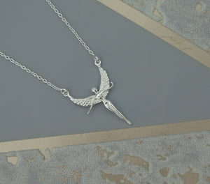 Guardian Angel Solid 925 Sterling Silver Pendant Necklace