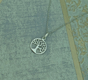 Small Celtic Tree of Life Solid 925 Sterling Silver Pendant Necklace