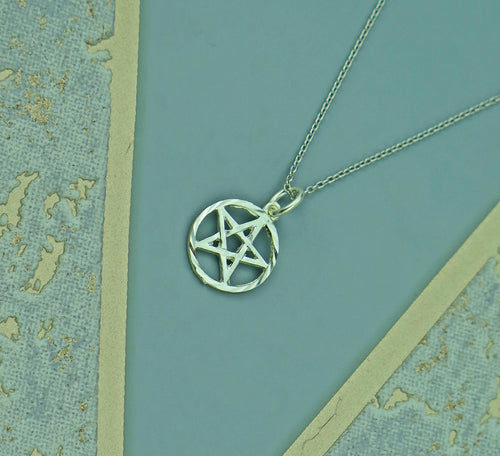 Pentagram Circle Solid 925 Sterling Silver Pendant Necklace