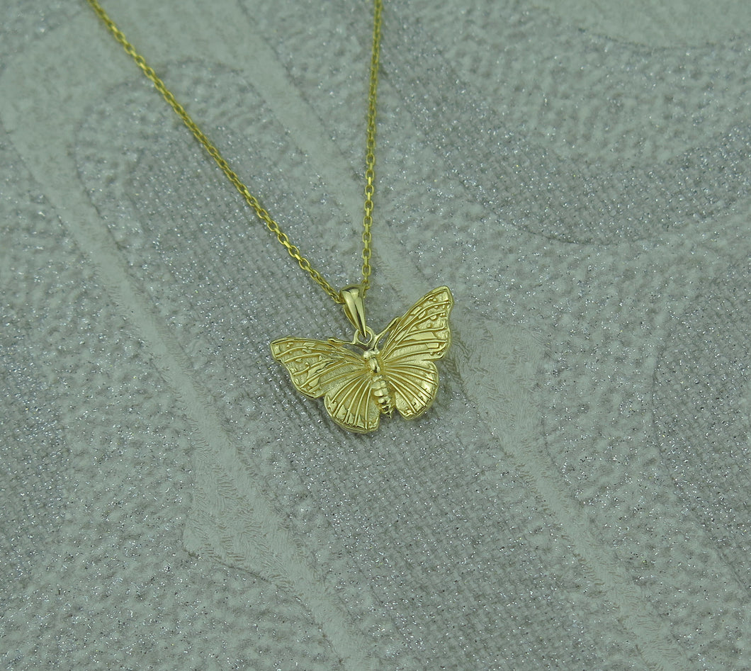 Sterling Silver Gold Plated Lucky Butterfly Pendant Necklace