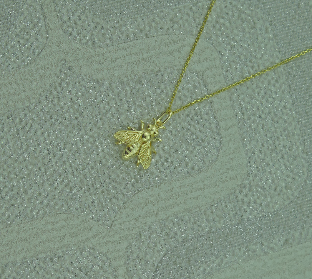 Sterling Silver Gold Plated Lucky Bee Pendant Necklace