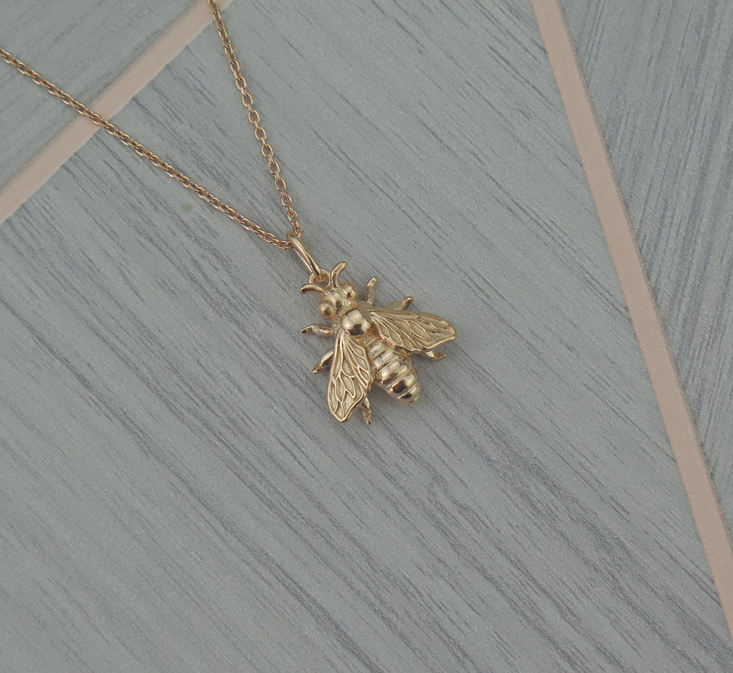 Sterling Silver Rose Gold Plated Lucky Bee Pendant Necklace
