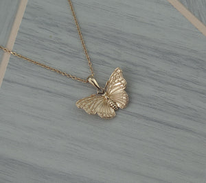 Sterling Silver Rose Gold Plated Lucky Butterfly Pendant Necklace