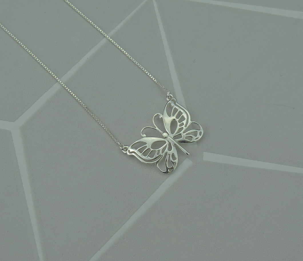 Sterling Silver Lucky Butterfly Filigree Pendant Necklace