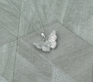 Sterling Silver Lucky Butterfly Pendant Necklace