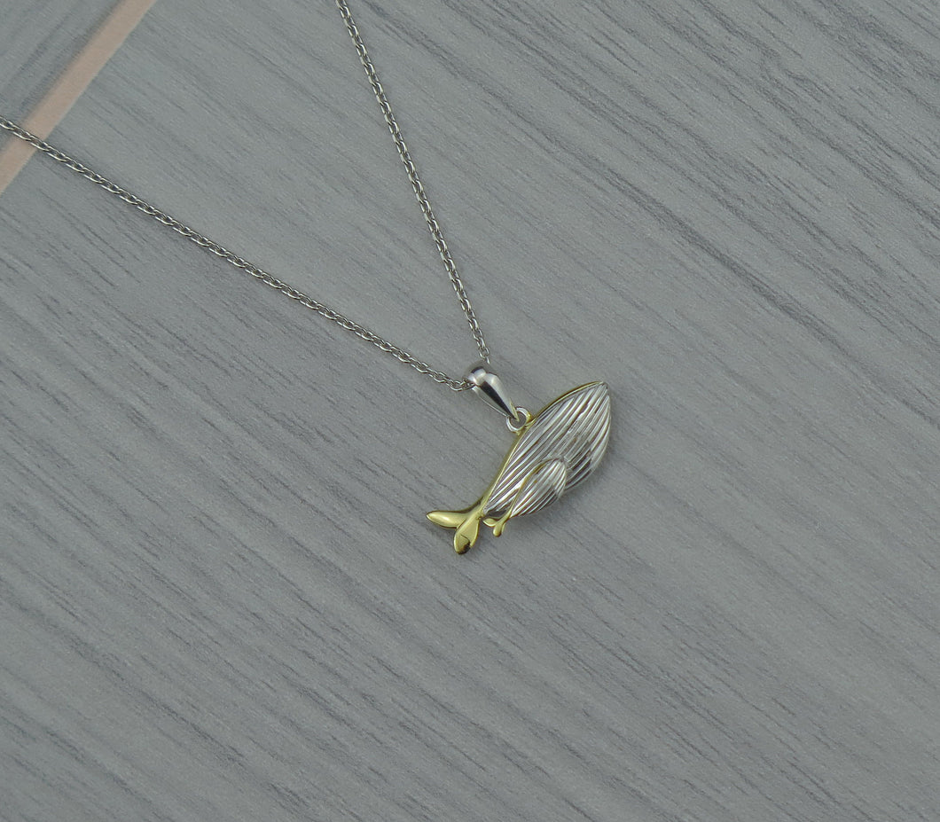 Sterling Silver Lucky Mother & Baby Whale Pendant Necklace