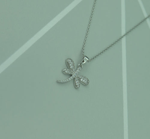 Sterling Silver Lucky Czech Crystal Dragonfly Pendant Necklace