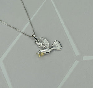 Sterling Silver Dove of Peace Pendant Necklace