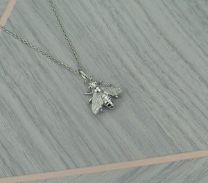 Sterling Silver Lucky Bee Pendant Necklace