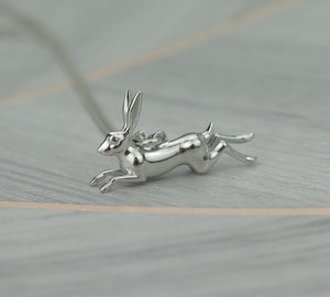 Sterling Silver Lucky Hare Pendant Necklace