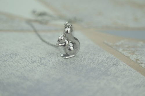 Sterling Silver Lucky Squirrel Pendant Necklace