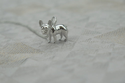 Sterling Silver French Bulldog Pendant Necklace