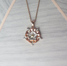 Load image into Gallery viewer, Sterling Silver Rose Gold Plated English Rose Pendant Necklace