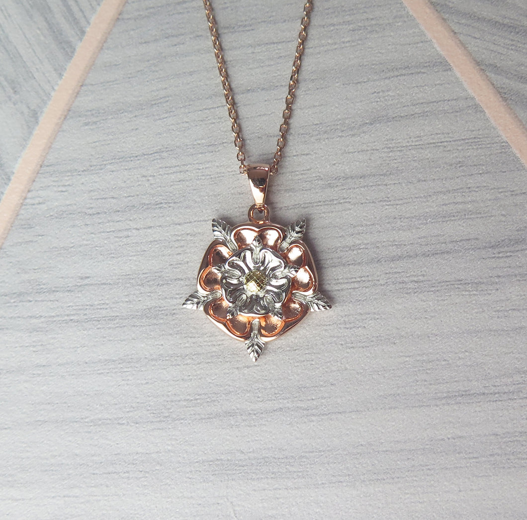 Sterling Silver Rose Gold Plated English Rose Pendant Necklace