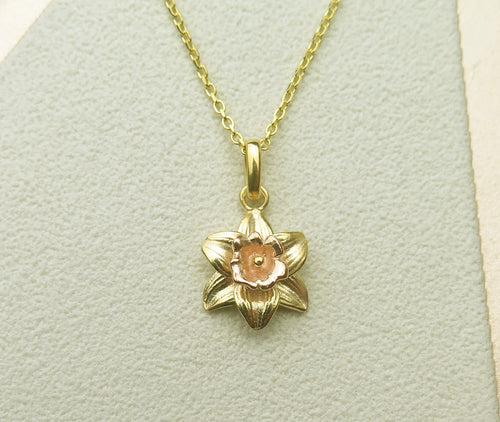 Sterling Silver Gold Plated Celtic Welsh Daffodil Pendant Necklace