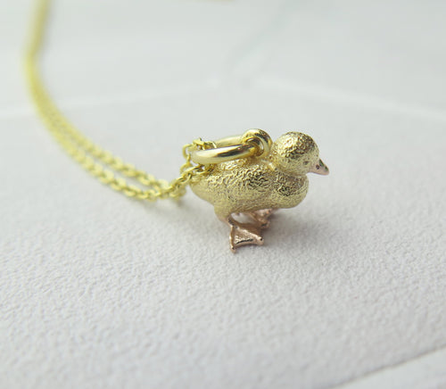 Sterling Silver Gold Plated Lucky Duckling Pendant Necklace