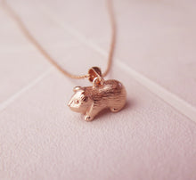 Load image into Gallery viewer, Sterling Silver Rose Gold Plated Guinea Pig Pendant Necklace