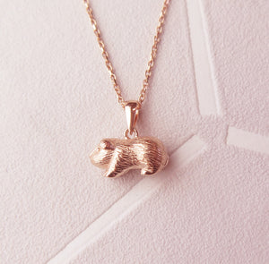 Sterling Silver Rose Gold Plated Guinea Pig Pendant Necklace