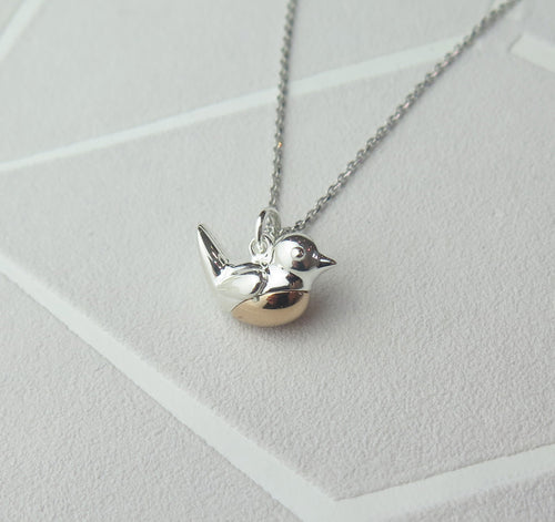 Sterling Silver Robin Pendant Necklace