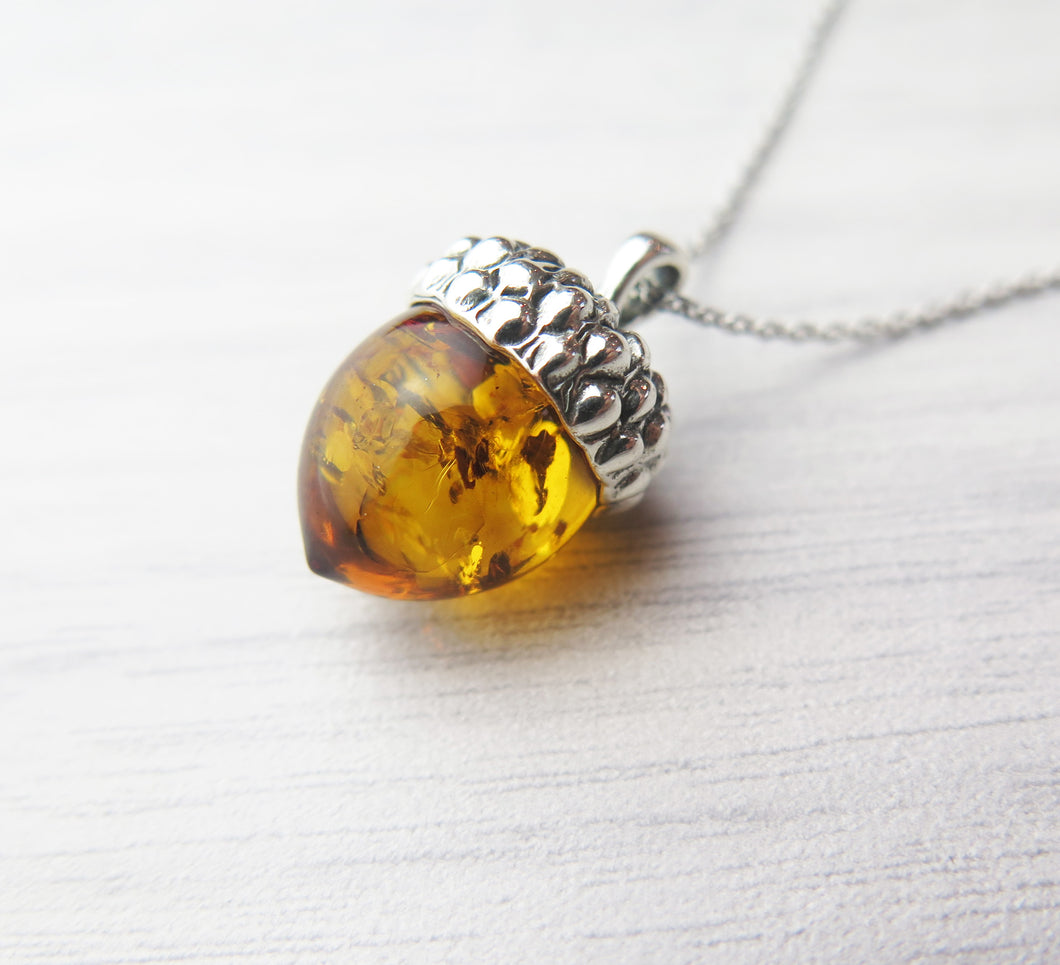 Solid 925 Sterling Silver Real Genuine Cognac Amber Lucky Acorn Pendant Necklace