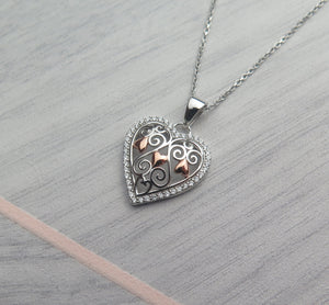 Solid 925 Sterling Silver & Rose Gold Celtic Filigree Crystal Heart Pendant Necklace